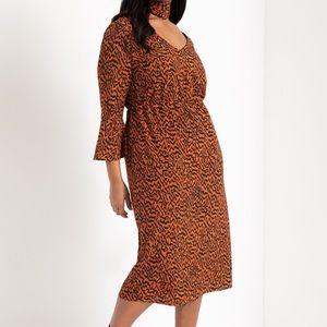 Eloquii Abstract Print Knit Midi Dress